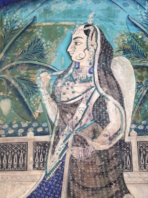 Bundi wall painting of lady