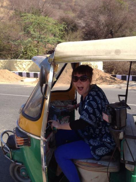 Issi in a rickshaw