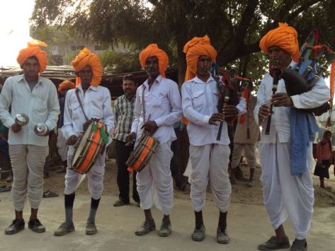 Mashak (bagpipe) players of Thikarda village, Bundi
